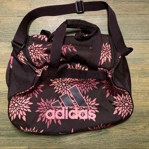 Adidas Brown Pink Floral Duffle Gym Crossbody Bag